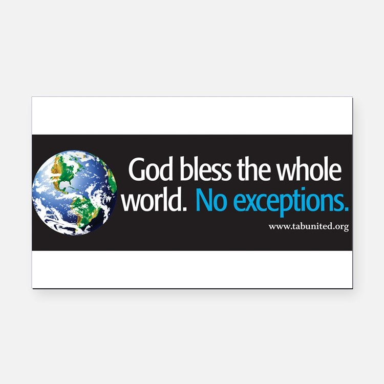 Cute God bless the whole world Rectangle Car Magnet