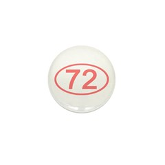 Number 72 Oval Mini Button (10 pack)