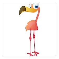 """Cartoon Flamingo Square Car Magnet 3"""" x 3"""""""