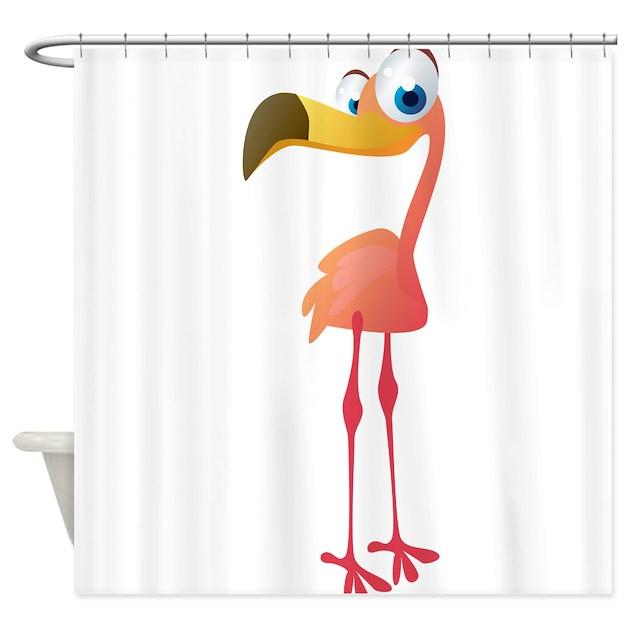 Cartoon Flamingo Shower Curtain By WorldofAnimals