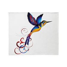 Colorful Hummingbird Throw Blanket