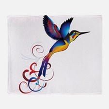 Colorful Hummingbird Throw Blanket