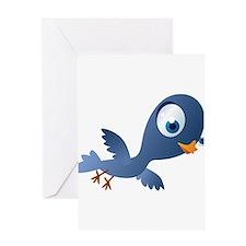 Blue Cartoon Pigeon Greeting Card