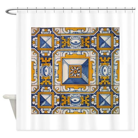 Azulejo azul e amarelo shower curtain by azulejo for Azulejo azul