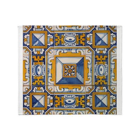 Azulejo azul e amarelo throw blanket by azulejo for Azulejo azul