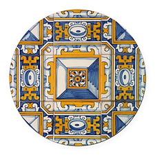 Azulejo Azul e Amarelo Round Car Magnet