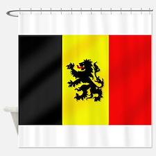 Rampant Lion Belgian Flag Shower Curtain