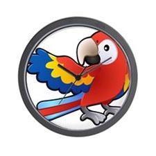 Red Parrot Wall Clock