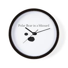 Polar Bear in a blizzard Wall Clock