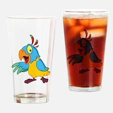Funny Cartoon Parrot Drinking Glass