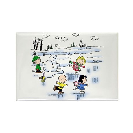 Snow Scene Rectangle Magnet