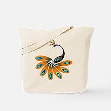 Orange Peacock Tote Bag