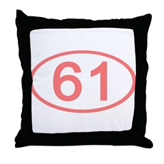 Number 61 Oval Throw Pillow