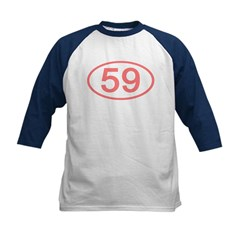 Number 59 Oval Kids Baseball Jersey