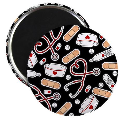 """Cute Nurse Supplies Print - Black 2.25"""" Magnet (10"""