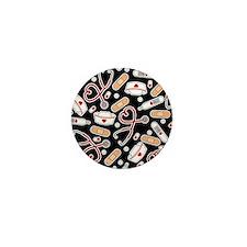Cute Nurse Supplies Print - Black Mini Button
