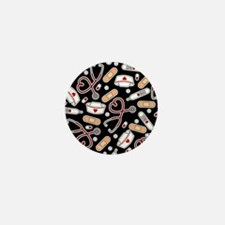 Cute Nurse Supplies Print - Black Mini Button