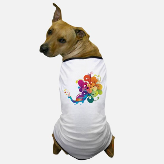 Rainbow Peacock Dog T-Shirt