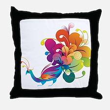 Rainbow Peacock Throw Pillow