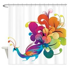 Rainbow Peacock Shower Curtain