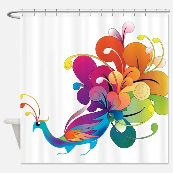 Rainbow Peacock Shower Curtain