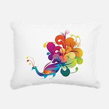 Rainbow Peacock Rectangular Canvas Pillow
