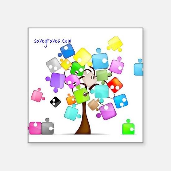 "Family Tree Jigsaw Square Sticker 3"" x 3"""