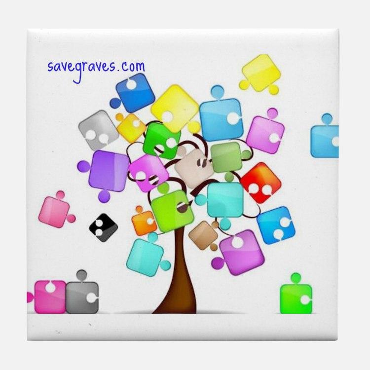 Family Tree Jigsaw Tile Coaster