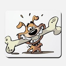 Cartoon Dog with Bone Mousepad