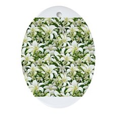 Lily White Ornament (Oval)
