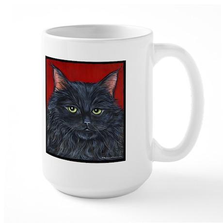 Cat Black Long Hair Large Mug