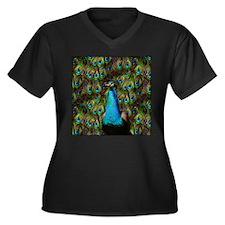 Peacock Watc Women's Plus Size V-Neck Dark T-Shirt