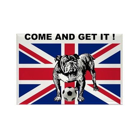 British Football Bulldog Rectangle Magnet (10 pack