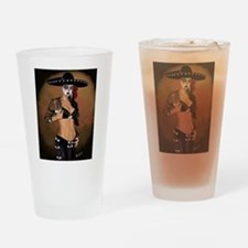 Mariachi Pin-up Art Drinking Glass