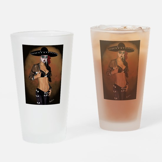Mariachi Pin-up Art Drinking Glass