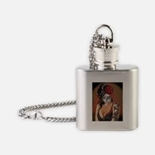 Skulls and Roses Muertos Flask Necklace