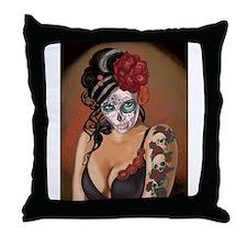 Skulls and Roses Muertos Throw Pillow