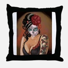 Skulls and Roses Muertos Throw Pillow