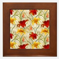 Painted Lilies Framed Tile