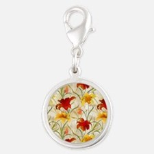 Painted Lilies Silver Round Charm