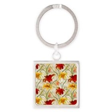 Painted Lilies Square Keychain