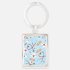 Cute Nurse Supplies Print - Blue Keychains