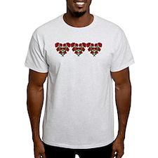 Red Flower Heart Motifs T-Shirt