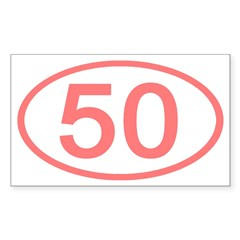 Number 50 Oval Rectangle Decal