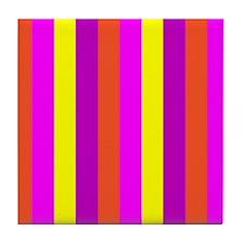 Z Striped Candy Colorful Mirage Designer Tile Coas