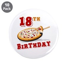 "18th Birthday Pizza Party 3.5"" Button (10 pac"
