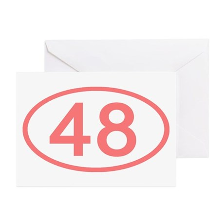 Number 48 Oval Greeting Cards (Pk of 10)