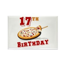 17th Birthday Pizza Party Rectangle Magnet
