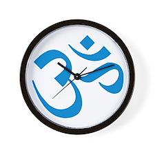 Om Symbol Blue Wall Clock