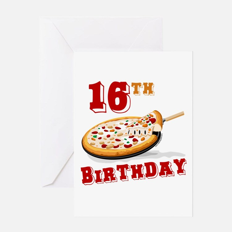 16th Birthday Pizza Party Greeting Card
